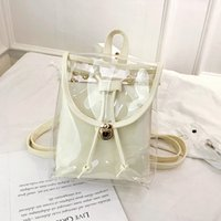 Wholesale pvc backpacks for sale - Group buy Women Transparent PVC Backpacks Korean Girl s Beach Bag Female Jelly Backpack schoolbag ladies Clear Personalized shoulder Bags GGA1789