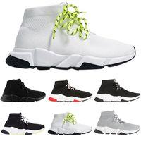 satılık ayakkabı bağları toptan satış-Balenciaga Sıcak Satış Moda lüks erkek kadın ayakkabı çorap dantel-up siyah beyaz kırmızı platformu düz tasarımcı mens eğitmenler Hız Eğitmenler sneakers rahat