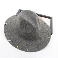 Wide Brim Wool Felt Fedora Jazz Hats Rivets Decor Women Men Panama Style Trilby Party Cowboy Cap Unisex Fashion Gambler Hat