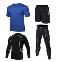 Wholesale boys running sets resale online - 2020 Quick Dry Sports Suit Boys Running Fitness Compression Underwear Kids Gym T shirts Tights Sets Running Clothes For Children