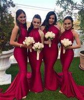 красивые платья невесты оптовых-2020 Щедрый High Neck Тонкий Русалка Длинные Bridesmaids платья партии Длинные Honor поздное Простые Gowns Spring Vestidos De Bridesmaids партии