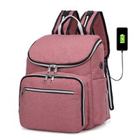 Wholesale diapers bags for baby resale online - 2019 Baby Diaper Bag With USB Interface Large Capacity Waterproof Nappy Bag Kits Fashion Bags For Stroller Mummy Maternity Modis