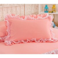 Wholesale blue ruffle bedding resale online - 2pcs Solid Color Pillowcase Handmade Ruffle Wrinkle Pillow Cover Textile Home Bedding Decorative Pillowcase with Lace for Girl Pillow Case