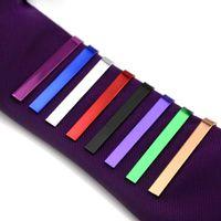 clipes de gravata de prata simples venda por atacado-Longa 4,3 CM 8 cores de alta qualidade de varejo de prata Curto Homens gravata de cobre Tie Bar Mens Cromo Braçadeira Simples Skinny Tie Clip Pinos Barras-P