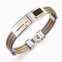 bracelet style rue achat en gros de-Bracelet de croix en or pour hommes 316L Titane Acier Bracelet Style Punk Cool Trois bracelets de fils d'acier tressés Bracelets pour Street Boy Cool Men