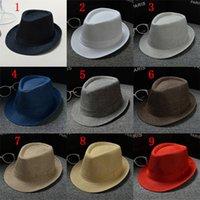 strand hut modelle großhandel-Baumwolle und Leinen Panama Volltonfarbe Hüte Jazz Hut Sonnenhut Männer und Frauen paar Modelle britischen Visier Hut Strand Hüte