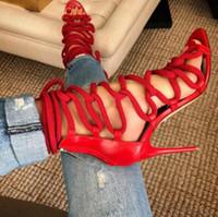 sandales à talons hauts zip achat en gros de-Sandales D'été 2019 Sexy Femmes Cross Strap Lace Up Toe Zip Retour Talons Aiguilles Talon Haut Chaussures De Soirée À Talons