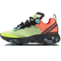 erkekler için kahverengi ayakkabı toptan satış-US12 UK11 BOYUTU 46 Volt Racer Pembe Reaksiyon Elemanı Kadınlar Için 87 Erkekler Koşu Ayakkabıları Tasarımcı Sneakers Spor Eğitmeni Ayakkabı Orewood Kahverengi
