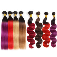 Wholesale 99j brazilian straight hair weave resale online - 10A Brazilian Human Hair Bundles With Closure Ombre Color Hair Extensions Bundles with Lace Closure T1B Purple J Body Wave Straight Hair
