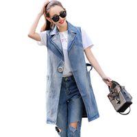 jaqueta jeans verão venda por atacado-Busto Clobee (100-130 cm) S-3XL 2018 Plus Size Jaqueta de Verão Sem Mangas Cardigan Jeans Das Senhoras Coletes Denim Longo Vest Mulheres
