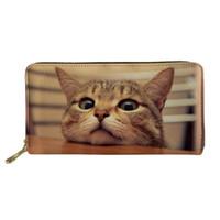 tarjetas impresas a mano al por mayor-Lindo 3d Animal Cat Print Billetera de cuero Cremallera Embrague Bolso de mano Largo Monedero Monedero Titulares de la tarjeta de viaje