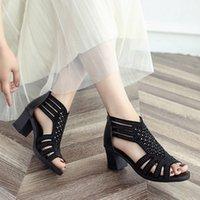 ingrosso cunei neri scavano-Scarpe donna tacco alto in cristallo estate 2019 Hollow Out Peep Toe Zeppe Sandali moda nero scarpe calzature chaussure schoenen