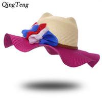 disket şapka çiçekleri toptan satış-Geniş Yan Yaz Hasır Şapka Kadın Kızlar Kedi Kulakları Güneş Şapka Çiçekler Uv Plaj Şapkaları Korumak Karışık Renkler Disket Panama