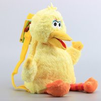 mochilas de aves al por mayor-Moda Tres Colores Mochilas Escolares Anime Rellenos Elmo Monster Cookie Big Bird Bookbag Cute Sesame Street Felpa Mochilas 25xq BB