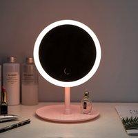 ingrosso compongono lo specchio dello specchio-Portable LED regolabile make-up specchio circolare luminoso caldo supporto di luce a LED specchio cosmetico USB prendere ricarica di pari specchio Samrt casa t