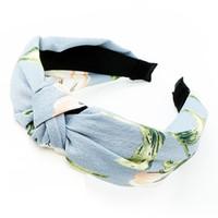 grandes senhoras headbands venda por atacado-Luz Azul Grande Flor Senhoras Nova Manta Listrada Headband Tecido Atado Cross Printing Wide-Brimmed Headband Headband