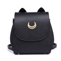 Wholesale sailor moon school bags for sale - Group buy New Sailor Moon Black PU Leather Backpack Women Shoulder Rucksack School Bags for Teenage Girls Brand Sac A Dos Femme
