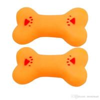 ingrosso giocattolo di slingshot di plastica-Giocattoli per ossa in vinile con suono BB per Dog Cat Denti per addestramento dei denti Giocattoli per ossa gialli