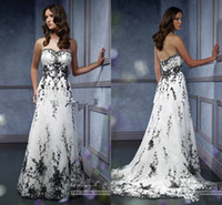 Vintage Gothic Bridal Wedding Gown Plus Size Sweetheart Black Embroidery Accented A Line Black And White Wedding Dress
