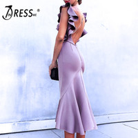 Wholesale party violet dresses resale online - INDRESSME Women Party Dress Summer Dress Vestidos Violet Ruffles Butterfly Sleeveless Backless Lady Sexy Mermaid Dresses