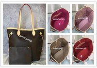 Wholesale dhl clutch for sale - Group buy DHL Women Shoulder Bag with a clutch Wallet Genuine Leather Shopping Tote Full Colors Interior Good Price