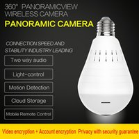Wholesale day night camera audio resale online - WiFi Smart Panoramic Camera Bulb Camera MP HD P Fish eye home Security CCTV Camera wireless network camcorder Two Way Audio