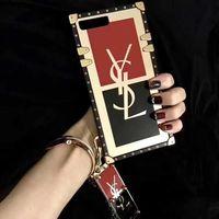 pulseras de silicona de impresión al por mayor-Square Plating Wristband Rope Funda de silicona de moda Impreso Letter Flower Phone Shell para iPhone Samsung A10 M10 A20 M20 A30 M30 A60 A50