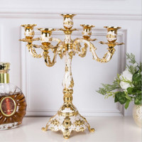 Wholesale golden wedding candles for sale - Group buy Eco Friendly Candle Holder Arms Shiny Golden Plated Candelabra Romantic And Luxury Metal For Wedding Events Or Party Decor