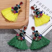 kadınlar için en iyi küpeler toptan satış-Best lady Yeni Boho Çok Renkli Cam Kristal Püskül Küpe Kadınlar için 2 Tasarımlar Nasıl Düğün Uzun Saçaklı Damla Küpe parti