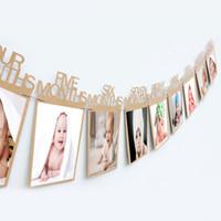 ingrosso cornice di carta nera-1st 1-12 Mesi Baby's Frame Shower baby Portafoto per bambini Regalo di compleanno Decorazioni per camera