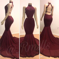 Wholesale photo image art for sale - Real Photos Cheap Halter Mermaid Long Prom Party Dresses Burgundy Lace Applique Beaded Backless Sweep Train Evening Gowns Plus Size