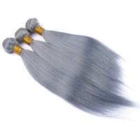 insan saçı örgü grisi toptan satış-Gri Saç Demetleri Ipeksi Düz Gri İnsan Saç Demetleri 3 adet Şerit Gri Demetleri Hint Remy Saç Uzatma 100% İnsan Weav