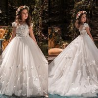Wholesale v neck wedding dresses ruffle for sale - Group buy Beauty Girls Pageant Dresses D Appliques Butterfly Jewel Neck Capped Short Sleeves Birthday Dresses Sweep Train Tulle Flower Girls Dresses