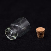 botellas viales de corcho al por mayor-1 ml Mini Botella De Vidrio Con Corcho De Madera Mini Deseos Botellas de Perfume Botellas de Muestra Vial Envase Cosmético RRA440