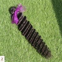 Wholesale off black hair weave resale online - Peruvian Off Black Color Deep Wave Virgin Hair Bundles Human Hair Weave a Unprocessed Double Weft Hair Extensions