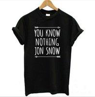 neve do jon camiseta venda por atacado-Chegada nova Womens T Shirt Você Não Sabe Nada Jon Snow Top Tees Jogos de Tronos Tshirts de Manga Curta Casual Roupas de Algodão