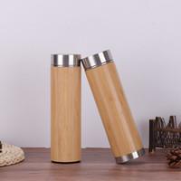 ingrosso tumblers del tè-Bicchiere di bambù da 17 once con filtro per infusore da tè Bottiglia di acqua in acciaio inossidabile Doppia parete Tazza da viaggio isolata sottovuoto MMA2301