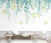 спальня с зелеными фресками оптовых-Nordic Mural Green Tree Leaf Обои Роскошь 3d для Гостиной Спальни 3d Настенные Росписи Листья Обои Бумаги Home Decor Пользовательские