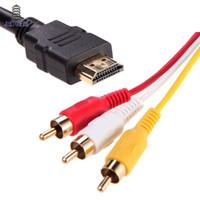 кабельная стойка оптовых-1,5 м 1080 P HDMI-3 RCA-кабель HDMI-AV Мужской адаптер Аудио-видео кабель для DVD HDTV STB HDMI-3RCA кабель