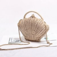 Wholesale lesbian chains for sale - Group buy New scalloped chain the cane bag lesbian paragraph woven bag shoulder BaoChao portable beach holiday