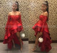 asymmetrisches rotes satinkleid großhandel-2019 New Red Sparkle Pailletten Abendkleider Off Shoulder Long Sleeves Eine Linie Asymmetrische Abendgesellschaft Tragen Günstige Vintage BC2171