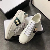 Wholesale various leather resale online - Top Quality Luxury embroidered striped Designer Shoes Various Styles Comfort Mens Womens ACE white Genuine Leather Sneakers Casual Shoes m7