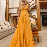 sarı uzun bandaj elbiseler toptan satış-Sarı Elbise Kadınlar Akşam Parti Bandaj Elbise Dalga Noktası Kısa Kollu V Yaka Uzun Yaz Gevşek Bohemian vestidos
