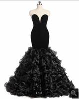 melhores vestidos de noite pretos longos venda por atacado-2019 imagem real de veludo preto vestido de baile sereia longo strapless com babados querida pescoço festa de noite vestidos de baile best selling