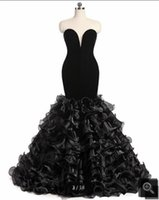 sereia querida vestido de baile querida venda por atacado-2019 imagem real de veludo preto vestido de baile sereia longo strapless com babados querida pescoço festa de noite vestidos de baile best selling