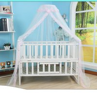 Wholesale toddler mosquito net online - Mosquito Net Hot Selling Baby Bed Mosquito Net Mesh Dome Curtain for Toddler Crib Cot Canopy Blue Pink Yellow Color