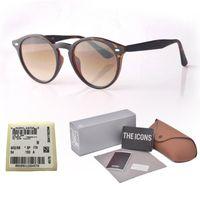 etiquetas redondas al por mayor-8 colores Recién llegado Clásico Gafas de sol redondas Diseñador de moda Moda gafas de sol hombres mujeres espejo uv400 lente de cristal con caja y etiqueta de venta