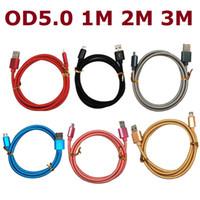cabos de carregador trançado venda por atacado-Tecido trançado OD5.0 V8 usb nylon cabo do carregador cabo de dados Grosso micro cabo 5pin para samsung S4 S6 S7 borda para HTC lg sony