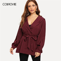 92f3ed91a1 COLROVIE Burgundy Double Breasted Self Belted Elegant Hoodie Coat Women  Jacket 2019 Spring Fashion Vintage Office Lady Outerwear