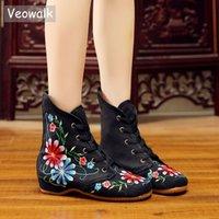 chinês algodão sapatos baixos venda por atacado-Veowalk Retro Mulheres Bordado Algodão Lace-up Curto Botas Planas, Outono Senhoras Casuais Chinês Bordado Sapatos Botinhas de Conforto